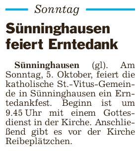 Erntedankfeier der katholischen St.-Vitus Gemeinde in Sünninghausen