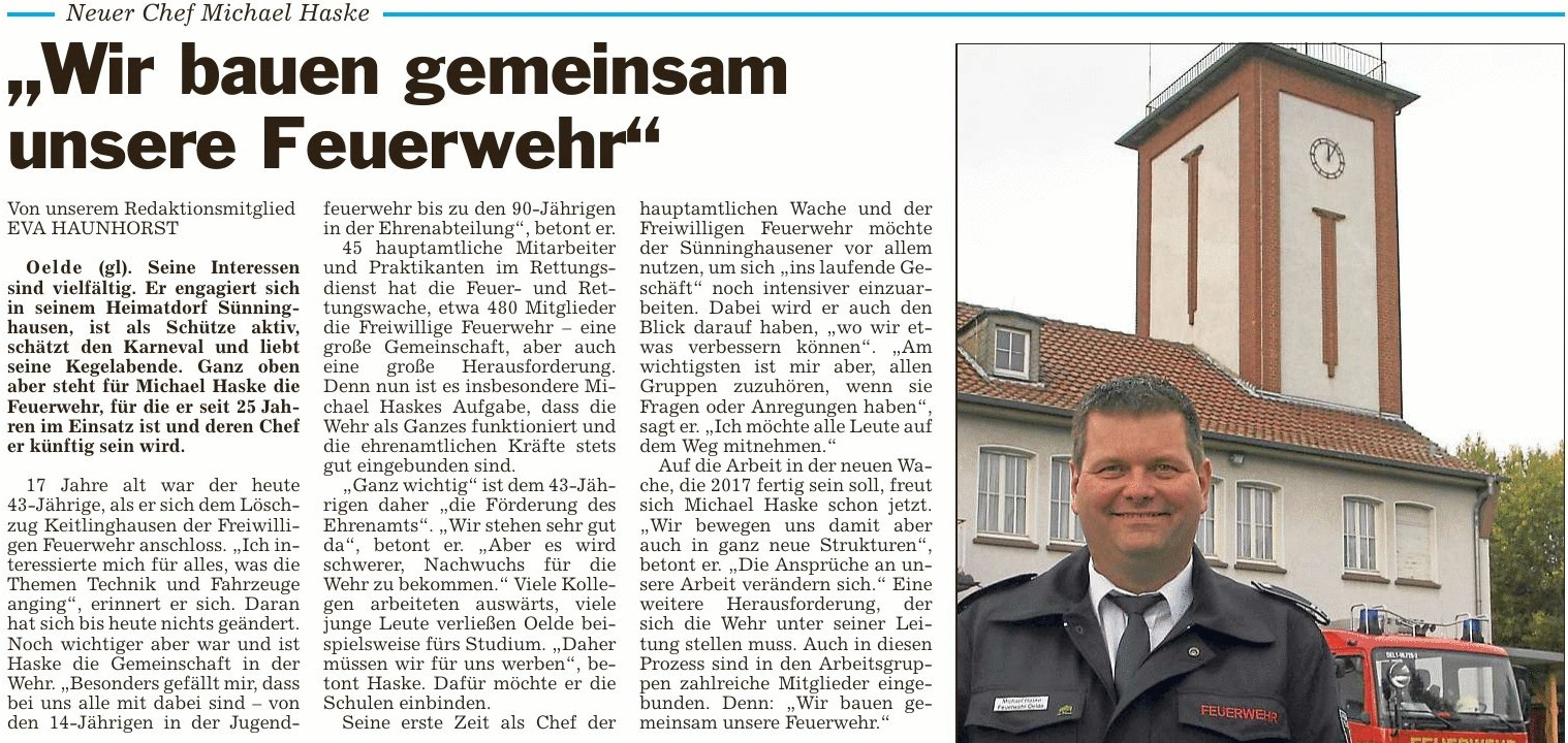 Sünninghausener Michael Haske neuer Chef der Oelder Feuerwehr