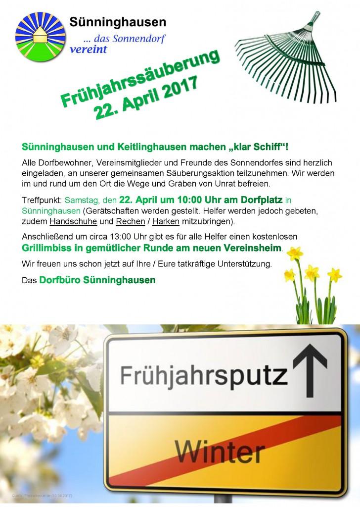 Frühjahrssäuberung Sonnendorf am 22. April 2017 ab 10:00 Uhr