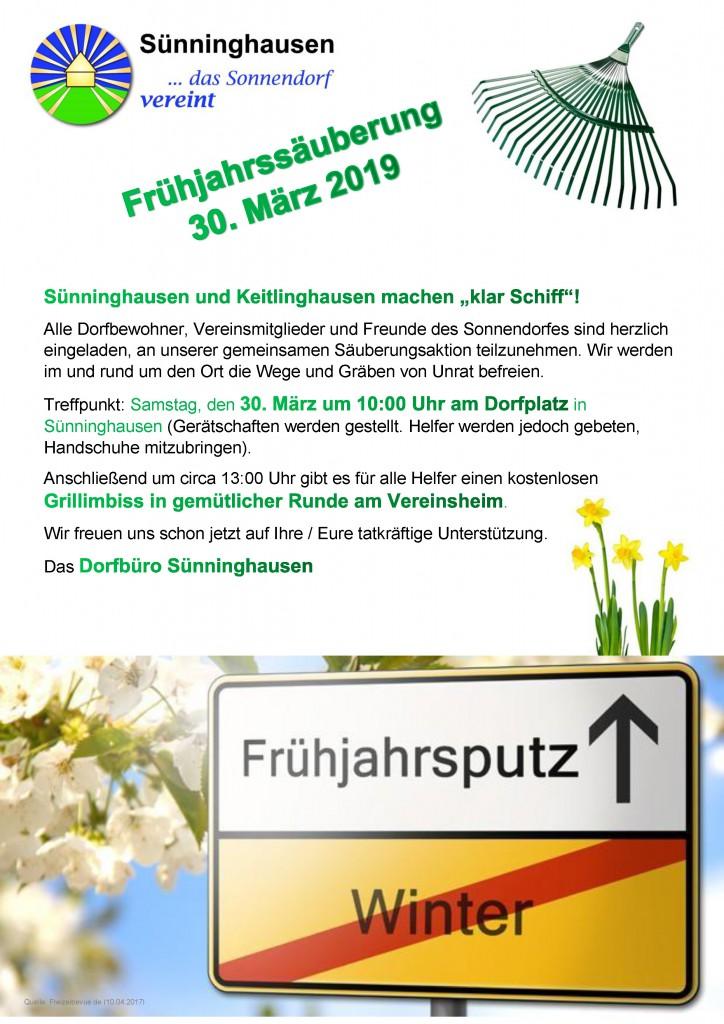 Einladung zum Frühjahrsputz Sünninghausen und Keitlinghausen 2019