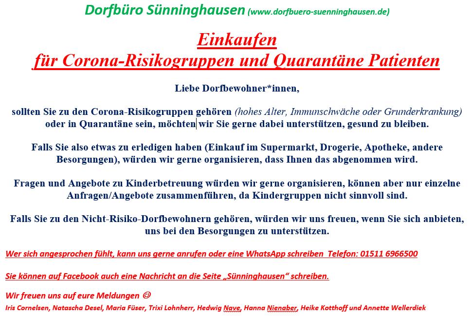 Einkaufen  für Corona-Risikogruppen und Quarantäne Patienten